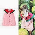 2017 Fashion Big Turn-down Collar Watermelon Vest Dress For Girls Summer Pink Dresses Kids Tops Shirt Children Clothes