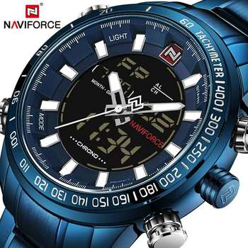 NAVIFORCE Watch Men Top Brand Luxury Digital Analog Sport Wristwatch Military Stainless Steel Male Clock Relogio Masculino 9093
