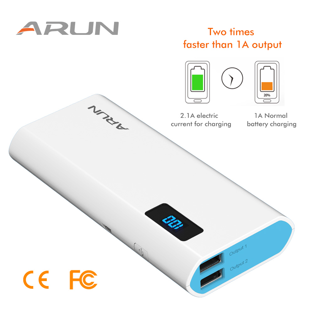 ARUN Banco Do Poder 10000 mah powerbank para Xiao mi mi iPhone X 8 Portátil Carregador de Bateria Externa para Celular Huawei p20 Pro Powerbank