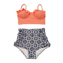 2017 New Bikinis Women Swimsuit High Waist Bathing Suit Plus Size Swimwear Push Up Bikini Set Vintage Retro Beach Wear Biquini