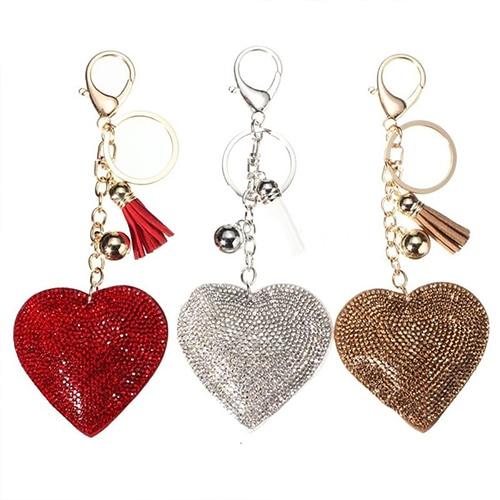Romantic Dazzling Rhinestone Love Heart Charm Pendant Fringe Keychain Keyring