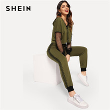 03bce4fca3d SHEIN Athleisure Green Fishnet Sleeve Lace up Hoodie Crop Top and  Sweatpants Set Women Spring Sporting Workout Two Piece Sets