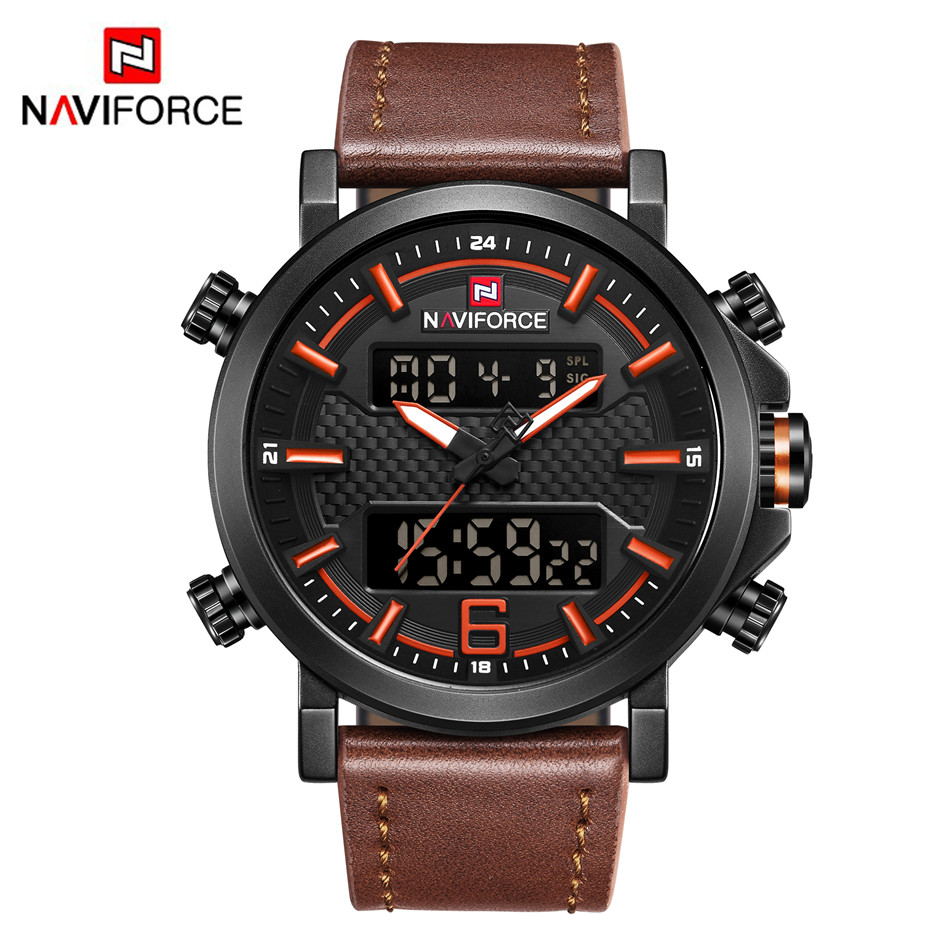 NAVIFORCE 9135 Mens Watches Top Brand Luxury Quartz Watch Men Casual Leather Date Waterproof Sport Watch Relogio Masculino 2018|Quartz Watches| |  - title=