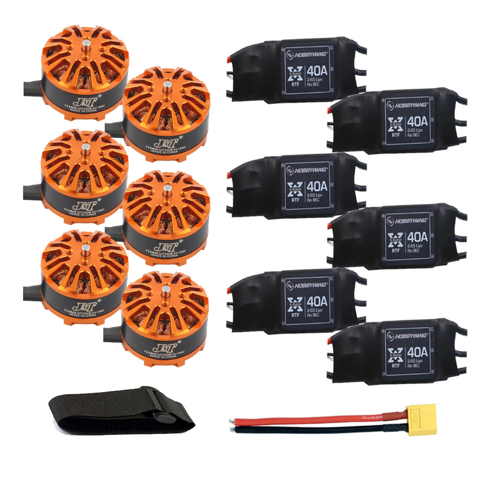 DIY 6-axis Aircraft Hexcopter Motor Combo 6pcs 3508 380kv Motor + 6pcs Hobbywing XRotor 40A ESC + XT60 Connector+Fastening Tape tarot tl68b14 6 axis aircraft hexcopter fy680 fy650 inverted battery rack ship with tracking number