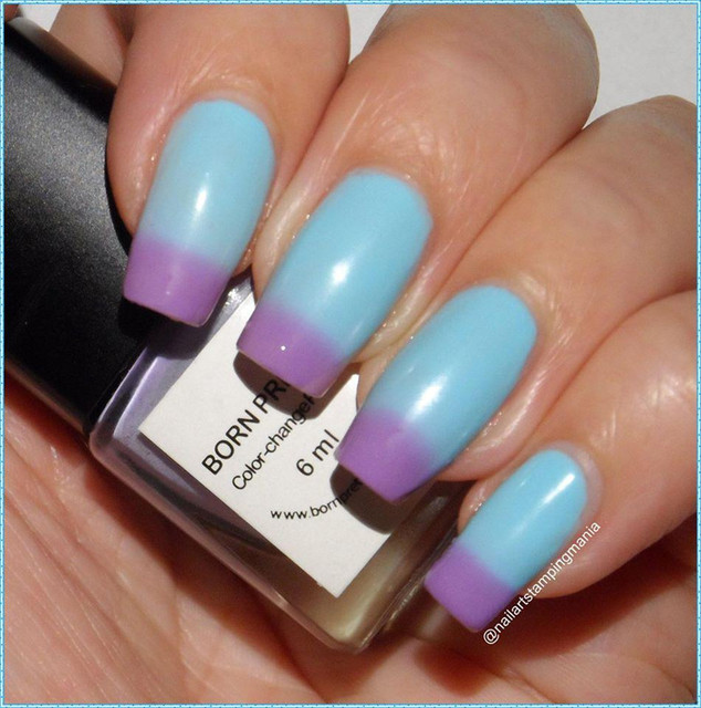 1Pc Blue Purple Temperature Change Color Nail Polish Thermal Changing Polish Multicolor Nail Polish Varnish No. #103