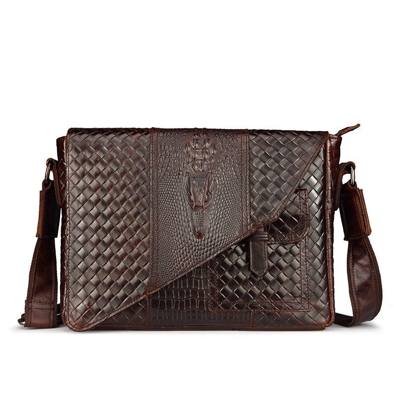 100% Genuine Leather Mens Shoulder Bag Knitting Shoulder Bag Male Crocodile Cross Body Bag Vintage Briefcase Retro Business Bag
