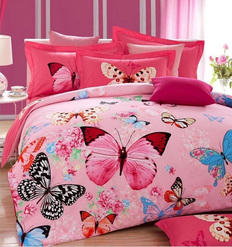 thicken boho bedding sets queen king king size 4pcs butterfly butterfly sanded cotton. Black Bedroom Furniture Sets. Home Design Ideas