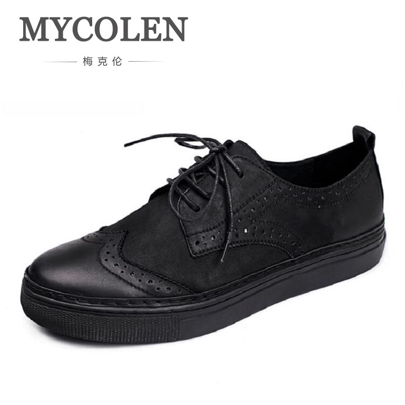 MYCOLEN Brand Men Leather Shoes Casual Genuine Leather Lace Up Shoes Men Fashion Leisure Luxury Work Brogue Shoes sapatos brand new spring men fashion lace up leather retro brogue shoes casual flat breathable carved shoes bullock oxfords shoes wb 55