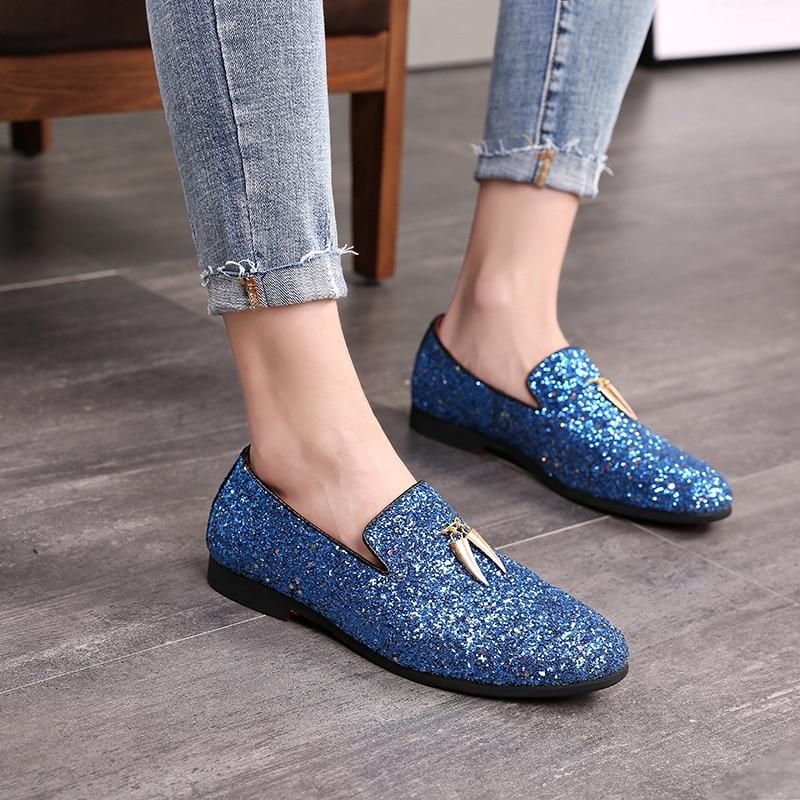 Homme Masculinos Homens Uomo Social Herren Novo Schuhe Sapato Dos Masculino Azul Scarpe Chaussure Cuir Sapatos branco Mocassins OPwwzX