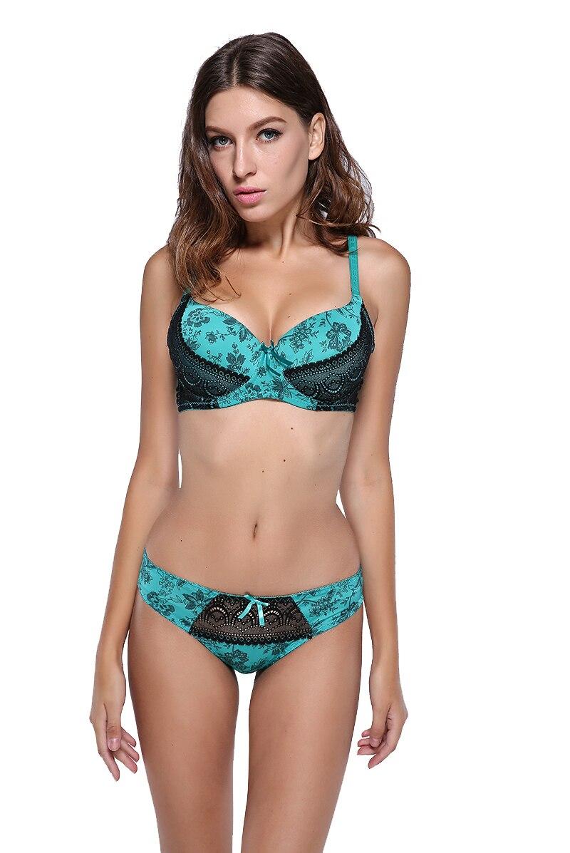 Ikeacasa, sexy lace BC bra brief sets plus size 80 85 90 95 100 large cups push up bra set printing intimate underwear women set