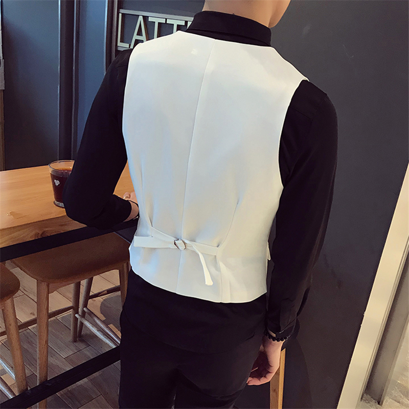 White Men Vests Large Size S-5XL Slim