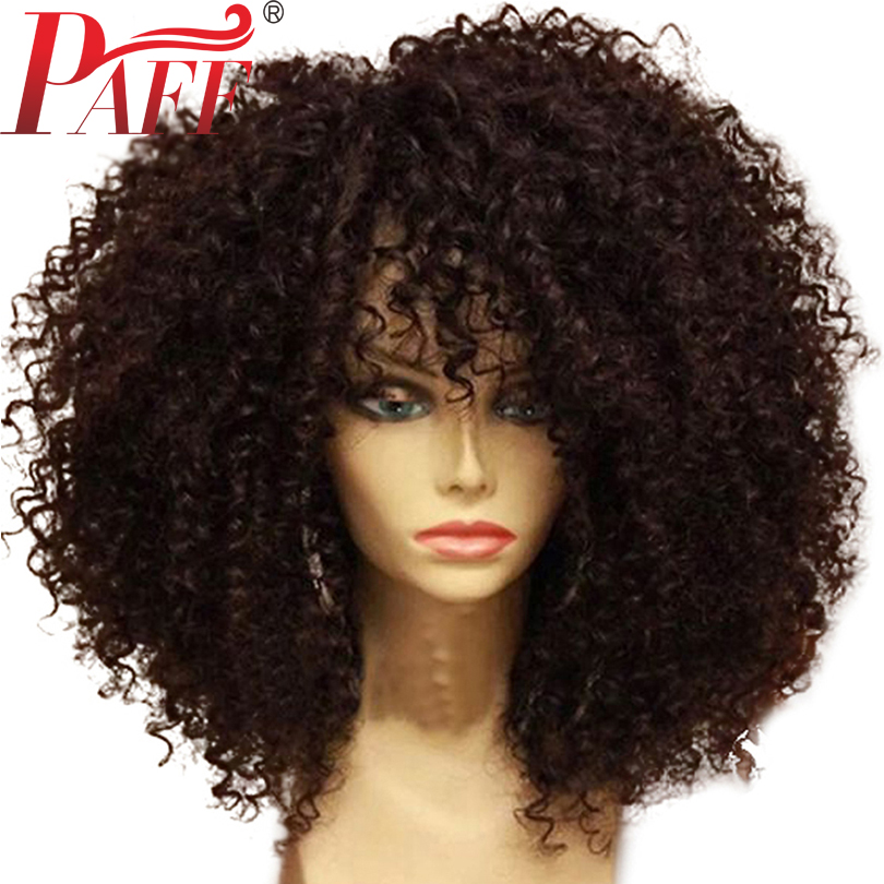 PAFF Short Bob Lace Front Human Hair Wigs Kinky Curly Brazilian Remy Hair Wigs Pre Plucked