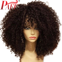 PAFF Short Bob Lace Front Human Hair Wigs Kinky Curly Brazilian Remy Hair Wigs Pre Plucked Full Ends 8 18Inch Free Shipping