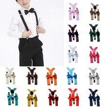 Регулируемые подтяжки Эластичные подтяжки для детей 1-10 лет, комплект с галстуком-бабочкой, Детские Эластичные подтяжки из полиэстера и кожи для мальчиков и девочек