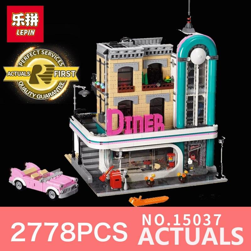 lepin 15037 2778Pcs streetview diner street Series nostalgic restaurant legoING 10260 model building kits blocks toys bricks купальник sherman sm15037 15037