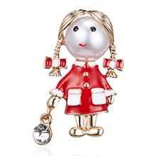 Rinhoo mała ładna dziewczyna broszki dla kobiet Opal i broszka strasy Pin srebrna kolorowa sukienka płaszcz akcesoria moda prezent tanie tanio Ze stopu cynku Rhinestone TRENDY Rysunek BC18Y0185 Kobiety Fashion Brooches