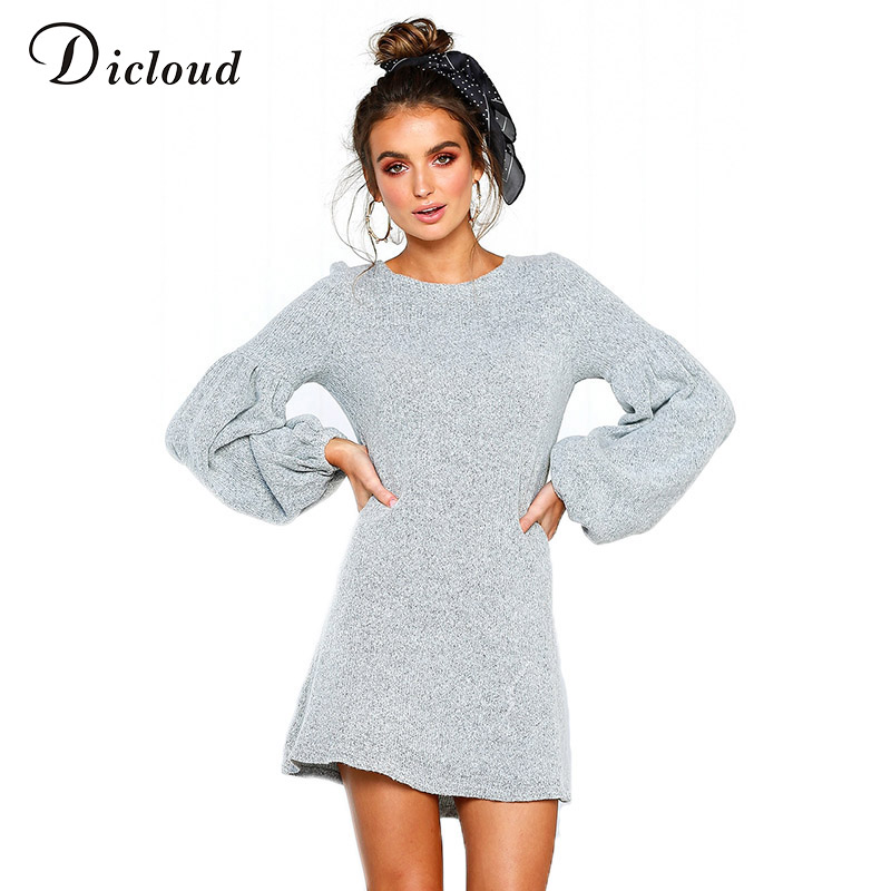 3a4effb3319 Detail Feedback Questions about Diclou knitted women sweater dress 2018  autumn winter long lantern sleeve casual loose dresses sexy female vestidos  ...