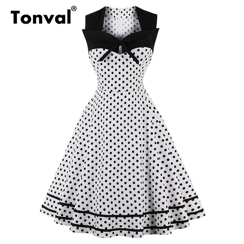 Tonval Vintage Polka Dot 1950S Summer Dress Women 2018 Elegant Tie V Neck  Party Dress Sleeveless Plus Size Blue Dresses-in Dresses from Women s  Clothing on ... 757ca5036c61