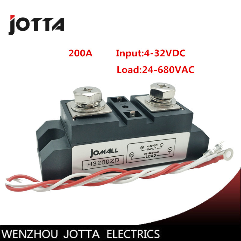 SSR-200A Industrial SSR 200A Input 3-32VDC;Output 24-680VAC industrial ssr relay 200a holographic belt purse