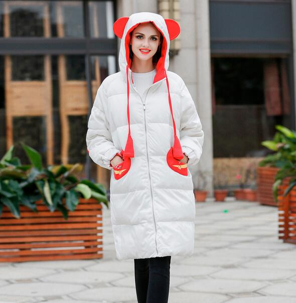 ФОТО 2017 new winter women 's down cotton jacket fashion patchwork hooded paaded coat outwear T848