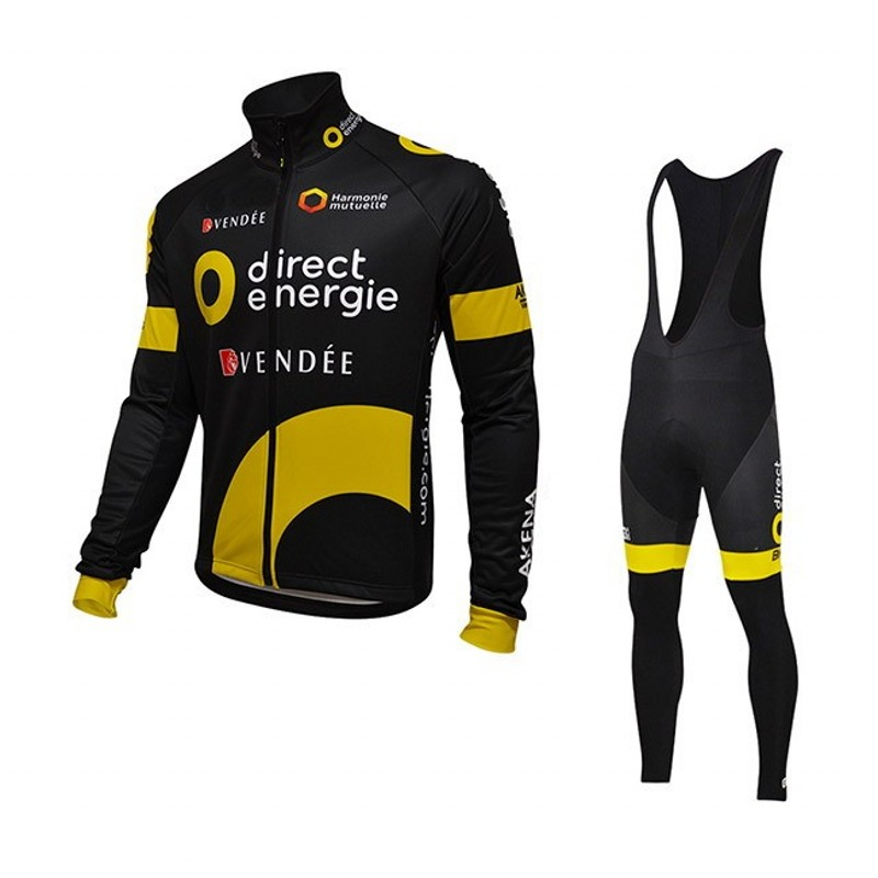 pro tour team direct energie cycling jerseys long sleeve winter sunscreen warmer bike cloth mtb. Black Bedroom Furniture Sets. Home Design Ideas