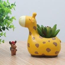 Маленький цветочный горшок с изображением оленя растения суккуленты