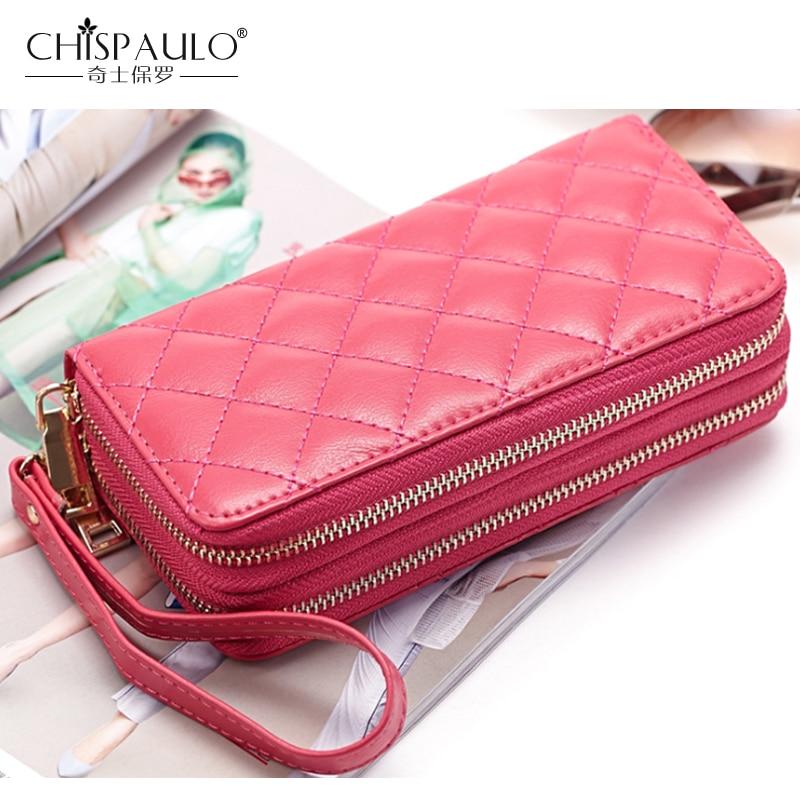 Genuine Leather Women Wallets Famous Brand Fashion Double Zipper Diamond lattice Ladies Clutch Bag High Quality Standard Wallets