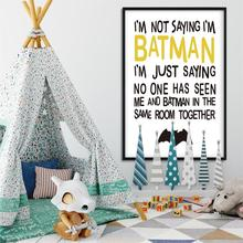 Caroon Batman Quote Wall Art Funny Posters and Prints Minimalist Canvas Painting Wall Pictures for Children Living Room Decor блуза caroon