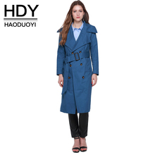 цена на Haoduoyi 2016 Autumn Double Breasted Longline Coat Turn Down Collar Blue Women Trench Coat Khaki Tie Waist Street Outwears