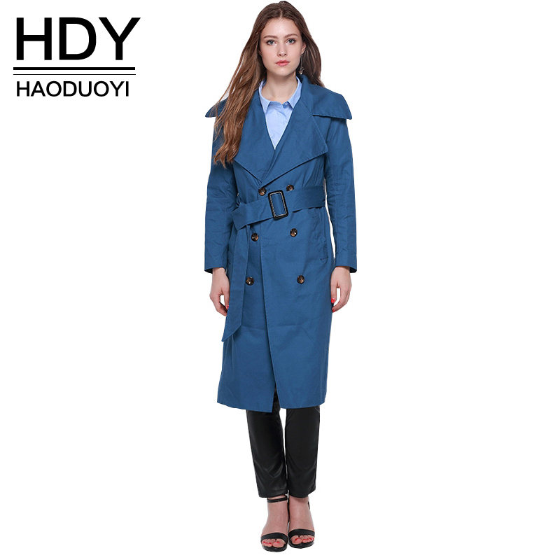 Haoduoyi 2019 Autumn Double Breasted Longline Coat Turn Down Collar Blue Women   Trench   Coat Khaki Tie Waist Street Outwears