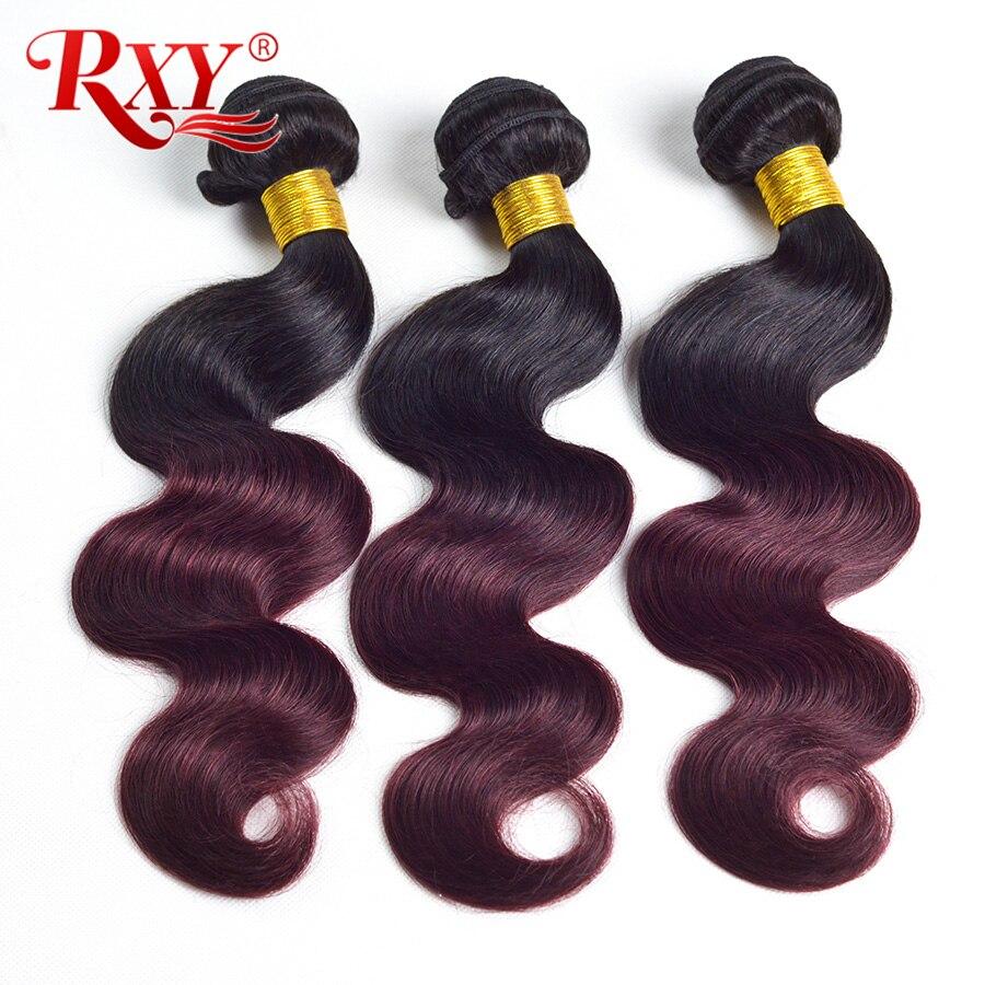 Ombre Hair Bundles Brazilian Body Wave Bundles Double Weft 1B Burgundy 99j 2 Tone Ombre Human