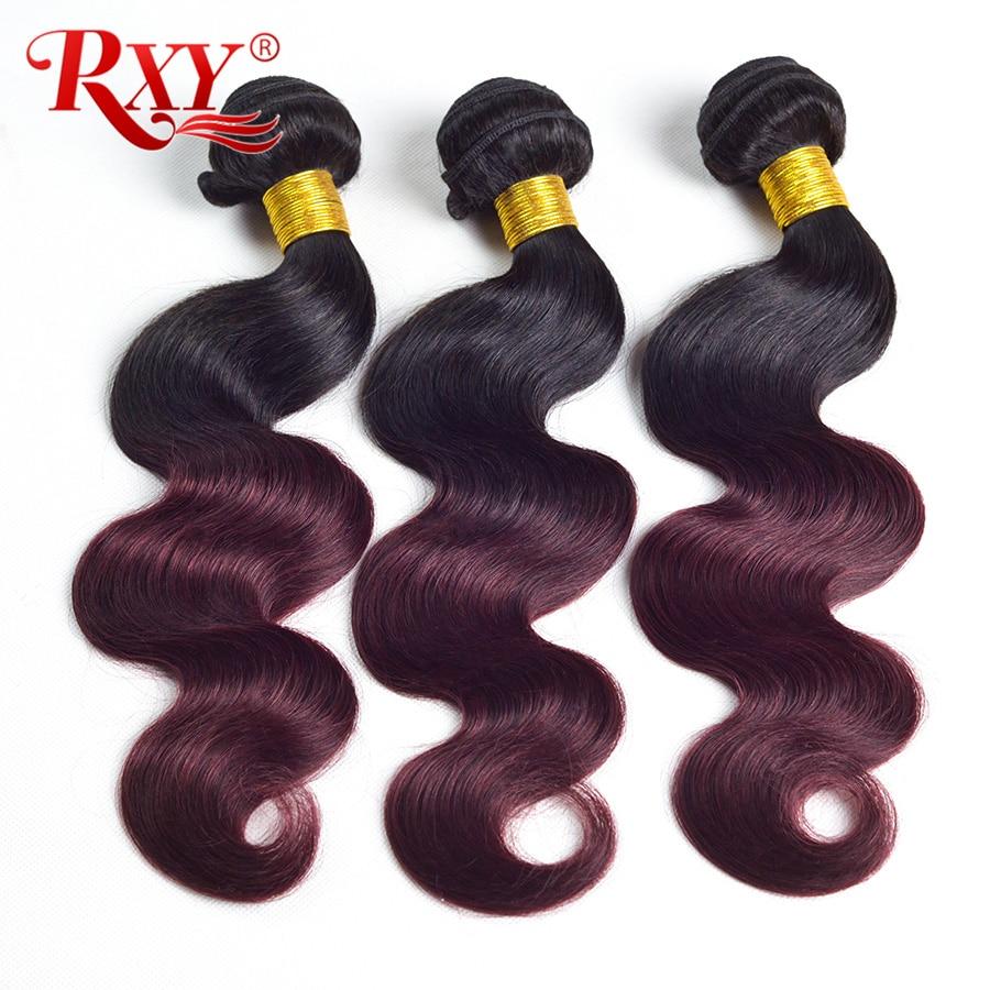 RXY Ombre Brazilijos plaukų pynimo paketai Kūno banga Dvigubas ataudas 1b Burgundija 99j Dviejų atspalvių raudoni žmogaus plaukų rinkiniai Non Remy 3 paketai