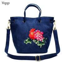 Vintage Women Handbags National Peony Floral Embroidered Female Travel Bags Blue Canvas Large Capacity Shoulder Messenger Bag