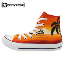 Women Men Converse All Star Man Woman Shoes Hawaii Sunset Palm Tree Original Design Hand Painted Shoes High Top Sneakers Gifts