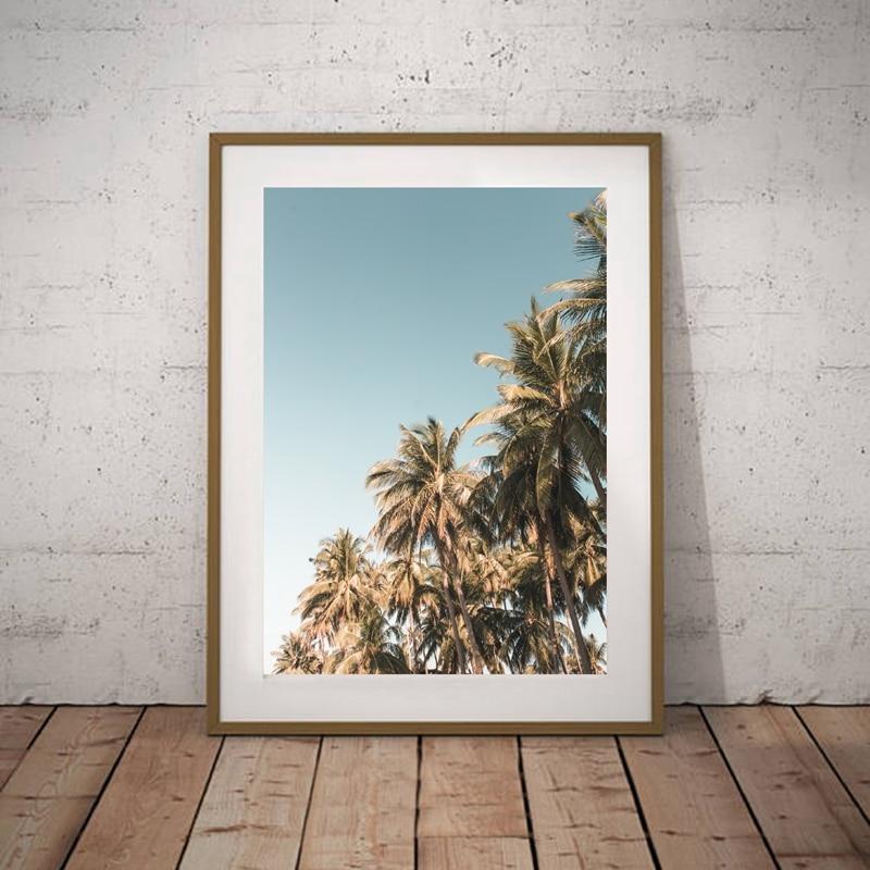 Palm Trees Print Beach Wall Art Summer Tropical Decor , VW BUS Surfer Van Canvas Painting Wall Picture Coastal Art Home Decor