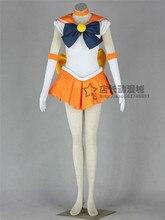 Полный набор Аниме Сейлор Мун Минако Айно Сейлор Венера равномерное Японский Косплей Костюм halloween dress + колье + бантом + перчатки