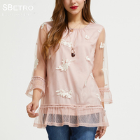 SBetro By Suzanne Betro Pink Embroidered Mesh Lace Sheer Crewneck 3/4 Ruffle Bell Sleeve Tunic Top Fashion Women Femme Plus Size