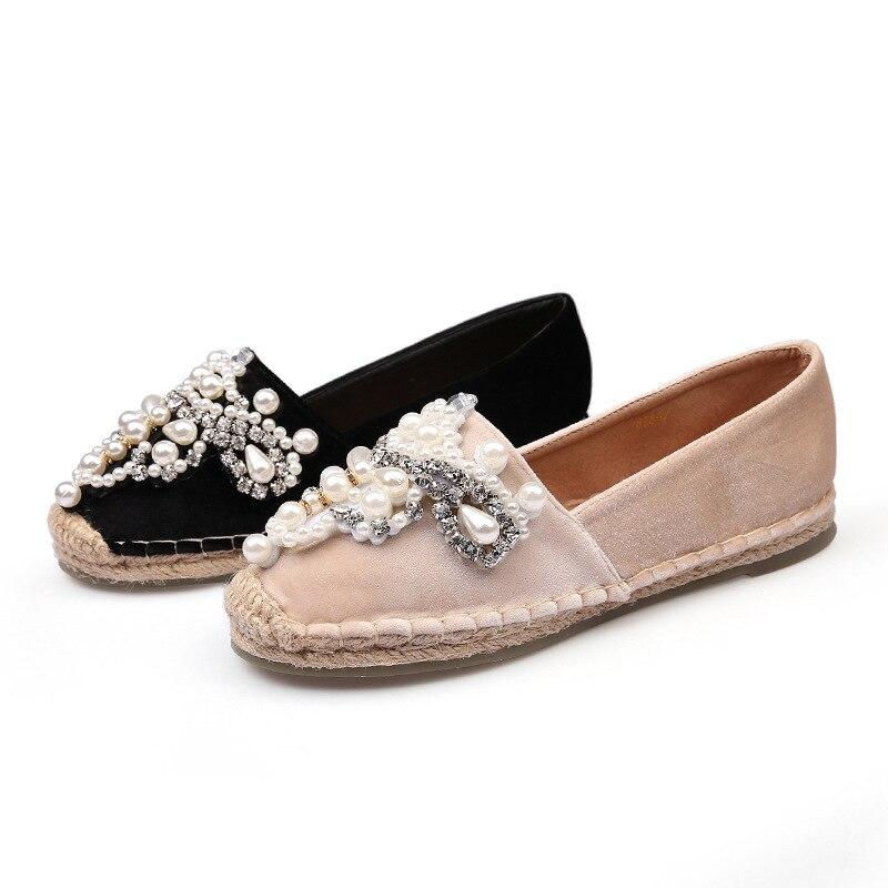 2018 Occasionnels Pour Or De Nouvelles Chaussures noir Plat Ronde Fille Beige Velours Diamant Femmes Pêcheur Espadrilles Perle Shampooing wnwrPAF1xq