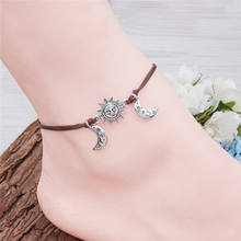 DoreenBeads Boho Style Polyester Boho Chic Anklet Antique Silver Coffee Sun And Moon Face Foot Bracelet 21cm(8 2/8″) long, 1 PC