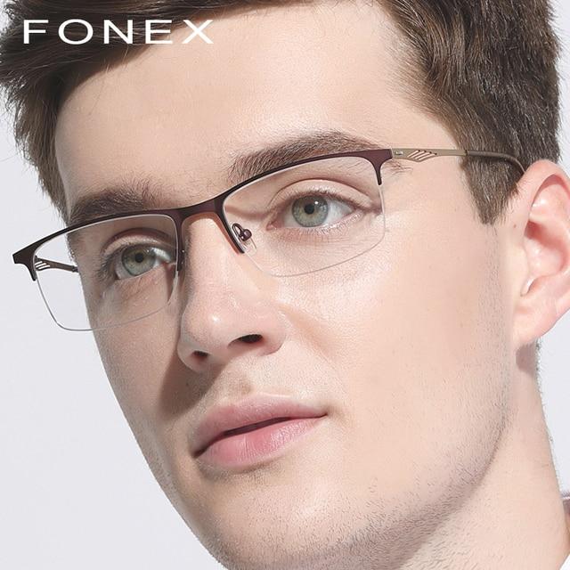 9763c76e947 Titanium Glasses Frame Men Square Prescription Eyeglasses 2018 Male Semi  Rimless Myopia Optical Frames Korean Screwless