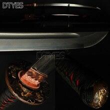 Alta calidad de cobre accesorios Kit japonés Samurai Katana espada Damasco arcilla acero templado obvio Hamon Sharp Blade