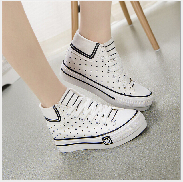 Women's Canvas Shoes High-top White Flat Shoes women's high heel platform casual shoes women Free Shipping