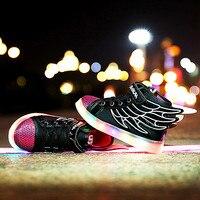 New Children Wings Luminous Shoes Kids Usb Charging Led Light Emitting Fashion Sneakers Brand Boys Girls
