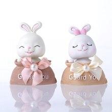 Cute Cloth Bag Rabbit Ornaments Creative Resin Crafts Decor Car Desktop Model Home Decoration Accessories Birthday Gifts