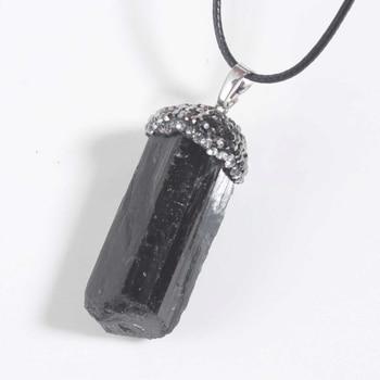 Irregular Shape Natural Black Tourmaline with Inlay Rhinestone Pendant  Stone Pendant