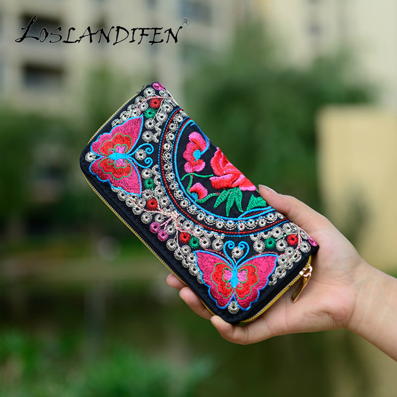 2018 New Chinese Style Ethnic Embroidery Bag Women Zipper Embroidery Purse Embroidered Peacock Ladies Card Holder Clutch Wallets стоимость