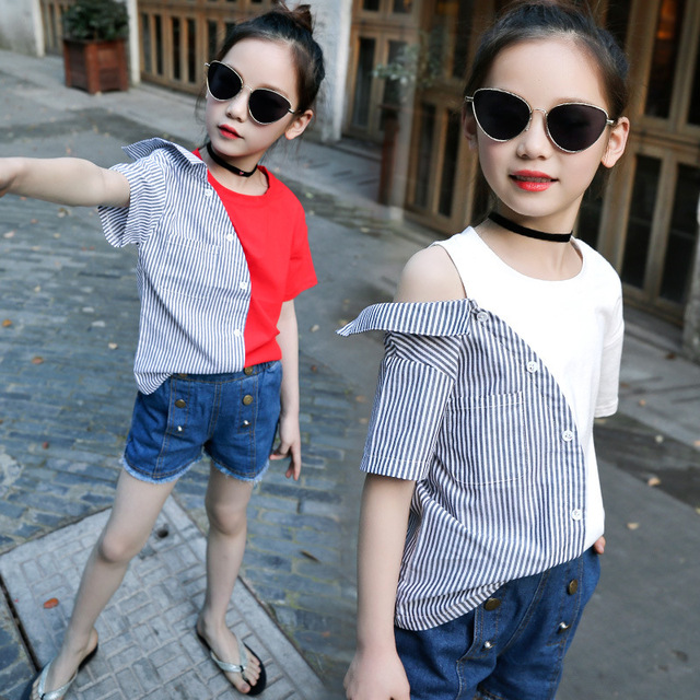 c9df30548 girls kids summer irregular stitching T shirts teens girl streetwear ...