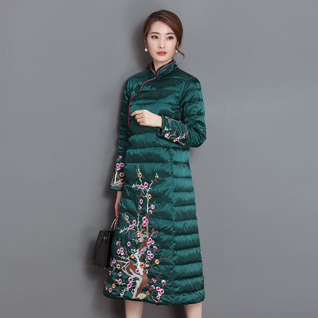 Novo chinês plum flor bordado para as mulheres grossas de algodão casaco de inverno jaqueta parka quente estilo cheongsam alta qualidade