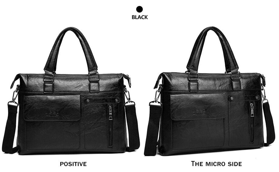HTB1RZwSewaH3KVjSZFjq6AFWpXa8 Famous Designer JEEP BULUO Brands Men Business Briefcase PU Leather Shoulder Bags For 13 Inch Laptop Bag big Travel Handbag 6013