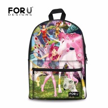 FORUDESIGNS Unicorn Canvas Backpack for Teenager Girls Boys,Cartoon Printing Children Backpacks,Cute Kids School Book Back Bag